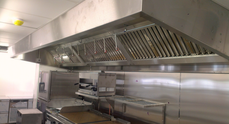 Kitchen extract canopy with fire suppression